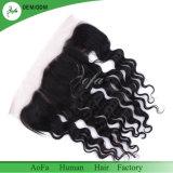 Virgem indiano preto natural de cabelo humano Lace colisão frontal com pré depenados