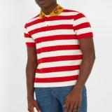 高品質の縞の不足分の袖の刺繍の綿のポロシャツをカスタマイズしなさい