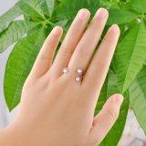 Anillo de dedo de cobre amarillo de piedra de la manera de la estrella de la joyería del Zirconia tres