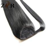 O preto de jato colore o Ponytail brasileiro humano das extensões do cabelo