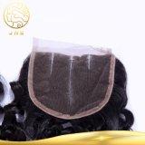 Fermeture bouclée de lacet de cheveu d'onde de Vierge indienne non transformée en gros bon marché
