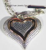 Uitstekende Antieke Zilveren nam de Gouden Met de hand gemaakte Gehamerde Halsband van de Tegenhanger van het Hart toe