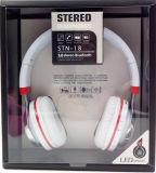 Беспроволочные стерео наушники шлемофона Bluetooth V3.0 с ритмом СИД светлым
