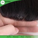 Noir naturel vierge des Cheveux humains indiens de la dentelle avec pré pincées frontale