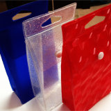 New Design Fashion Top Hole Hole PVC Stand up Bolsa com botão