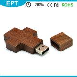 Movimentação de madeira cruciforme do flash do USB de Keychain para a amostra livre