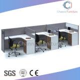 Diseño tradicional de madera mesa de oficina en blanco con la partición de la estación de trabajo (CAS-W31431)