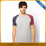 T-shirt rond de sport de chemise de Raglan du collet des hommes faits sur commande