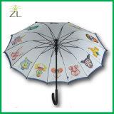 Long parapluie personnalisé de golf d'arbre de douze animaux chinois d'horoscope avec des tirages photos 12 panneaux pour la promotion
