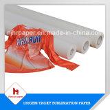 papier collant/visqueux du meilleur de la sublimation 100g papier de roulis de sublimation de transfert pour des vêtements de sport