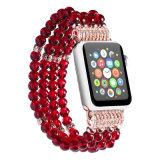 Modernes Schmucksache-Rot bördelt Rhinestone-Brücke für Apple-intelligentes Uhrenarmband