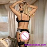 Comercio al por mayor de 3 piezas en stock Busto abierto Señoras sexy Net conjuntos de sujetador sexy Bra Panty Set