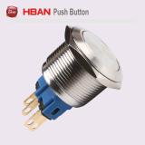 30mmの金属の防水平らな円形の瞬時の押しボタンスイッチ