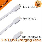 Горячие 3 в одном кабеле USB Retractable с быстрой скоростью