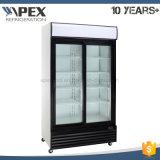 2 Glas-Tür-aufrechte Kühlvorrichtung mit berühmtem Kompressor für Getränk
