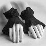 Перчатки Knit перста Rose женщин партии танцы Ls-047 шерстяные половинные