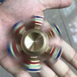Girador de giro da mão da inquietação esforço dourado sextavado de bronze do giroscópio do metal do anti para o adulto e as crianças