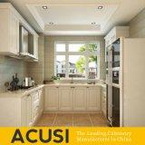 Gabinetes de cozinha simples americanos por atacado da madeira contínua do estilo (ACS2-W01)