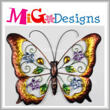 Metal colorido brilhante da borboleta e decoração da parede de vidro