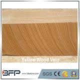 La pierre naturelle veine du bois de grès jaune dans la surface polie pour escaliers et les étapes