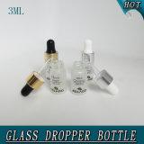 mini blanc de bouteille de compte-gouttes de parfum en verre 3ml givré