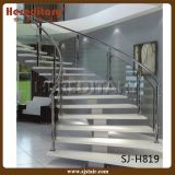 Euro- escadaria espiral quente elegante do aço suave e do vidro para interno (SJ-H882)
