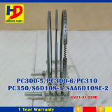 el aro del pistón determinado del motor diesel de 6D108 PC300-6 PC300-5 para KOMATSU parte (6221-31-2200)