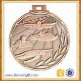 Médailles de natation de sport plaquées par bronze en alliage de zinc fait sur commande