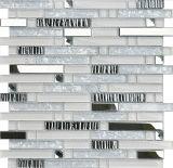 Mosaico bianco di cristallo della striscia della cucina per la parete