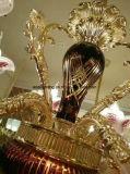 빨간 유리제 황금은 주물 아연 합금 샹들리에를 정지한다