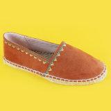 方法女性新しいデザインジュートの唯一の刺繍された平たい箱のオレンジのEspadrilles
