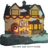 Chambre de Noël de résine avec le village de Noël de DEL