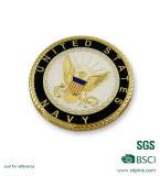 높은 광택이 있는 밧줄 가장자리 금 도금 사기질 기념품 동전