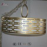 Lámpara colgante de metal decorativo con sombra de lino