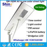 prix d'usine 5W 8W 12W 15W 20W 25W 30W 40W 50W 60W 70W 80W 100W tous dans une rue lumière solaire, rue lumière solaire intégré avec feux de jardin du meilleur prix