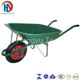 Carrinho de mão de roda pintado da cor verde