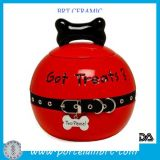 Red Small Ceramic Glazed Dog Pet Treat Jar