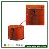 Casella di memoria rotonda dei monili di legno unici con i cassetti