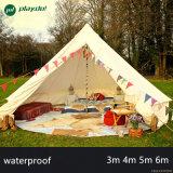 5m Glamping роскошь хлопок Canvas Bell палатка бежевого цвета семьи колокола кемпинг палатка с плитой отверстие