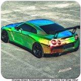 Tsautop 1.42 * 20m Laranja Green Holographic Laser Chrome Corpo corporal Cor de mudança de vinil