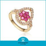 De in het groot 18k Zilveren Ring van de Juwelen van het Gouden Plateren met Robijn (sh-J0051)