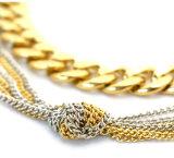 유럽식 은 또는 금 색깔 사슬 다중층 목걸이 조정가능한 숨막히게 하는 것 목걸이