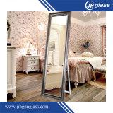 Siver acabado vestidor enmarcado espejo de pared / permanente espejo de vestir para decoración del hogar