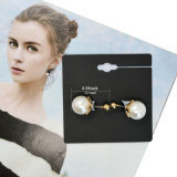 Nouveau design Gold-Tone Simulated-Pearl Ball Stud Earrings Bijoux double face