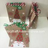 El brillo recicla bolsos del regalo del papel de la Navidad de Brown Kraft