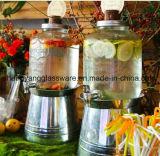 꼭지를 가진 무료 샘플 음료 주스 단지 또는 유리 저장 단지