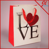 Sparkle Love Applique Euro Tote Sacolas de presente para namorados com Popup