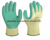 Голубая перчатка работы с покрытием латекса морщинки (LY2012)