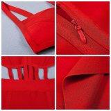 Летние спагетти ремешок O-шее Backless Sexy Bodycon порванный жгут Hot Red платье из скрытых полостей женщин вечер платье Clubwear Группа