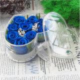 Cadre acrylique de fleur d'usine de forme de première main de coeur avec le couvercle